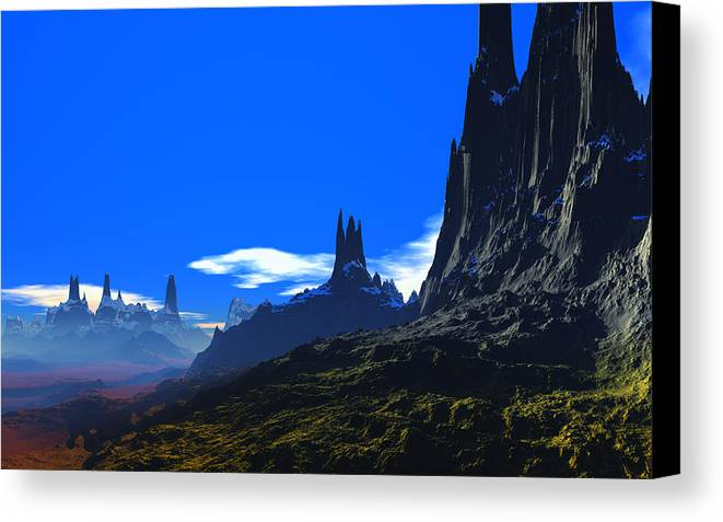 David Jackson Pass Of Gormok Alien Landscape Planets Scifi Canvas Print featuring the digital art Pass Of Gormok by David Jackson