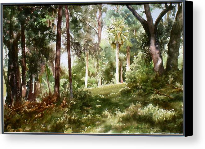 Nature Canvas Print featuring the painting Path In The Woods by Marion Hylton