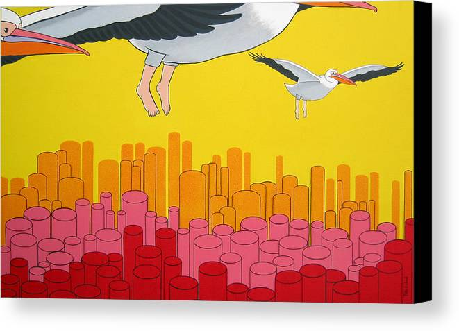 Birds Canvas Print featuring the painting Pelicans by Patricia Van Lubeck