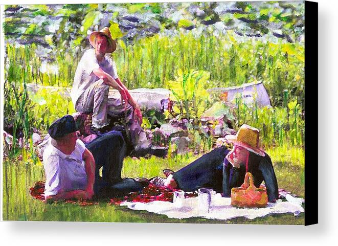 Lake Canvas Print featuring the painting Picnic By The Lake by Randy Sprout