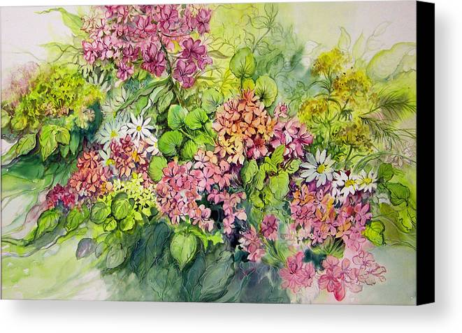 Flowers;floral;watercolor Floral;contemporary Floral;daisies; Canvas Print featuring the painting Profusion Of Colors by Lois Mountz