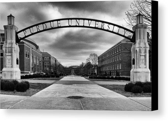 Purdue Canvas Print featuring the photograph Purdue Entrance Sign by Coby Cooper
