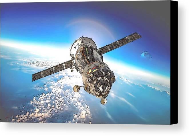 Majestic Blue Planet Canvas Print featuring the digital art Majestic Blue Planet Earth by Maciek Froncisz