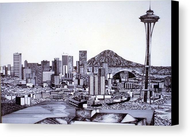 Seattle Canvas Print featuring the drawing Seattle Skline by Tammera Malicki-Wong