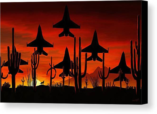 Fine Art Canvas Print featuring the painting Sentinels by David Wagner