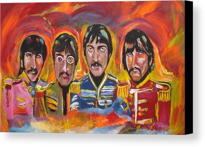 The Beatles Canvas Print featuring the painting Sgt Pepper by Colin O neill