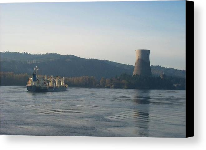 Ship Canvas Print featuring the photograph Ship Passing The Now Demolished Trojan Nuclear Plant by Alan Espasandin