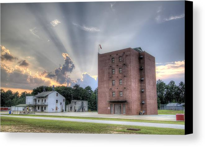 Fire Academy Canvas Print featuring the photograph South Carolina Fire Academy Tower by Dustin K Ryan