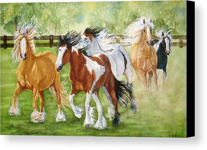 Horse Canvas Print featuring the painting Summer Frolic by Gina Hall