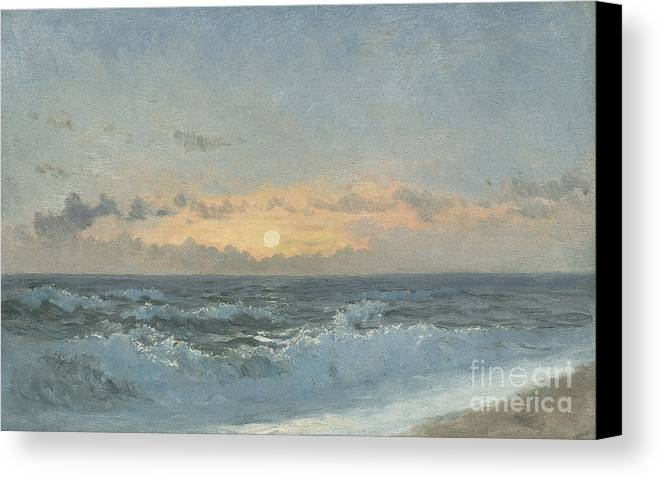 Seascape Canvas Print featuring the painting Sunset Over The Sea by William Pye
