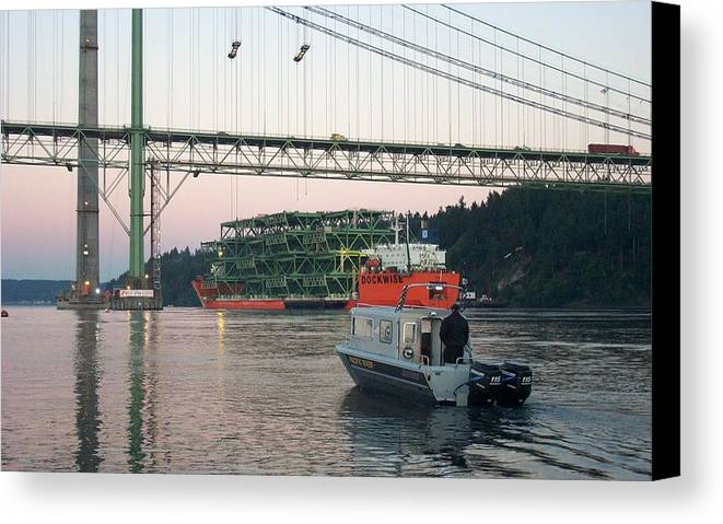 Tacoma Canvas Print featuring the photograph Tacoma Narrows Bridge With Patrol Boat In Foreground by Alan Espasandin