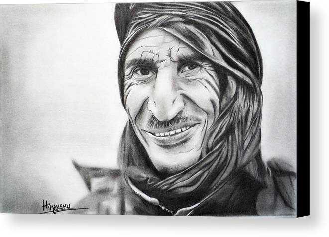 Pencil Portraits Canvas Print featuring the drawing Taliban by Himanshu Jain