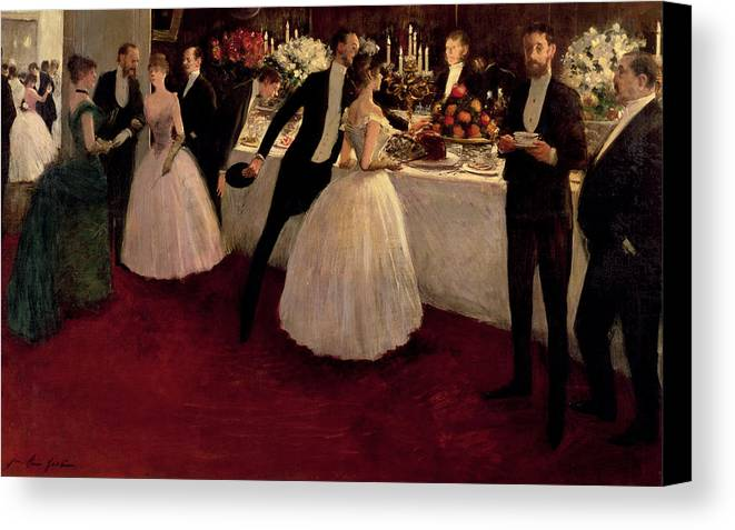 The Buffet Canvas Print featuring the painting The Buffet by Jean Louis Forain