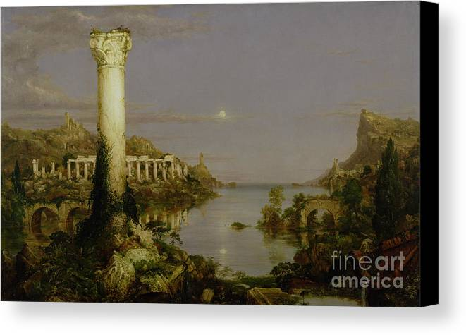 Moonlit Landscape; Classical; Architecture; Ruin; Ruins; Desolate; Bridge; Column; Hudson River School; Moon Canvas Print featuring the painting The Course Of Empire - Desolation by Thomas Cole