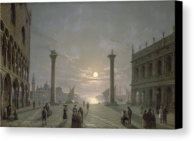Piazzetta; Marciana Library; Palazzo Ducale; San Giorgio Maggiore; Moonlight Canvas Print featuring the painting The Grand Canal From Piazza San Marco by Henry Pether