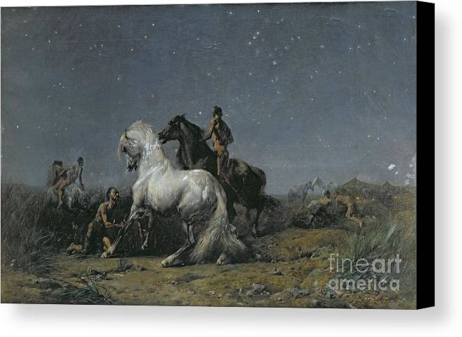 The Canvas Print featuring the painting The Horse Thieves by Ferdinand Victor Eugene Delacroix