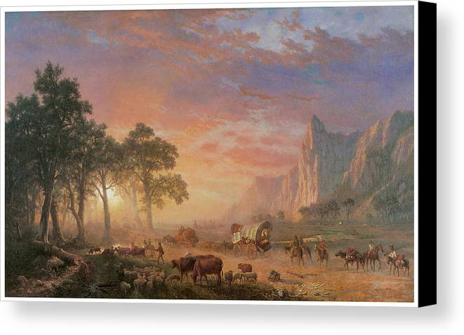 Albert Bierstadt Canvas Print featuring the painting The Oregon Trail by Albert Bierstadt