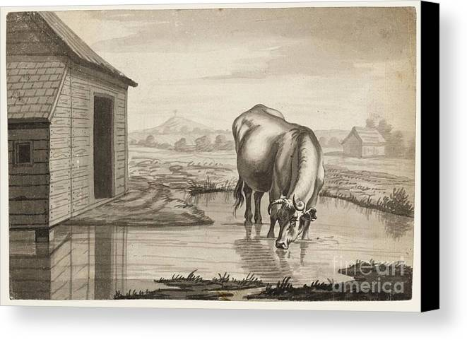 Susanna Duncombe (n�e Susanna Highmore) 1725�1812 Title A Cow Standing In A Pool Beside A Shed Canvas Print featuring the painting Title A Cow Standing In A Pool Beside by MotionAge Designs