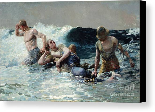 Undertow Canvas Print featuring the painting Undertow by Winslow Homer