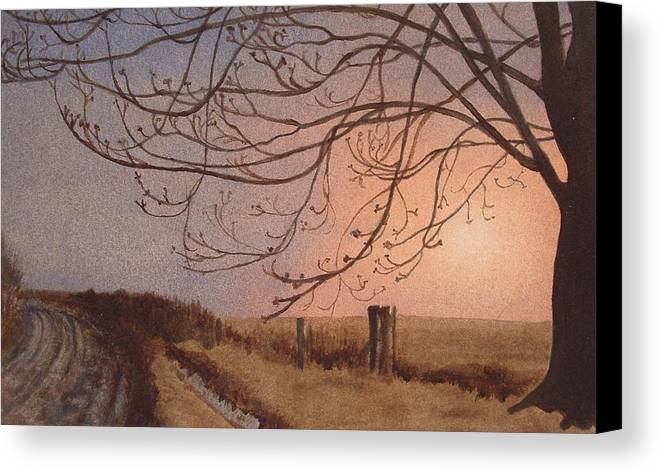 Landscape Canvas Print featuring the painting Wet Spring Soft Sunset by Lynn ACourt