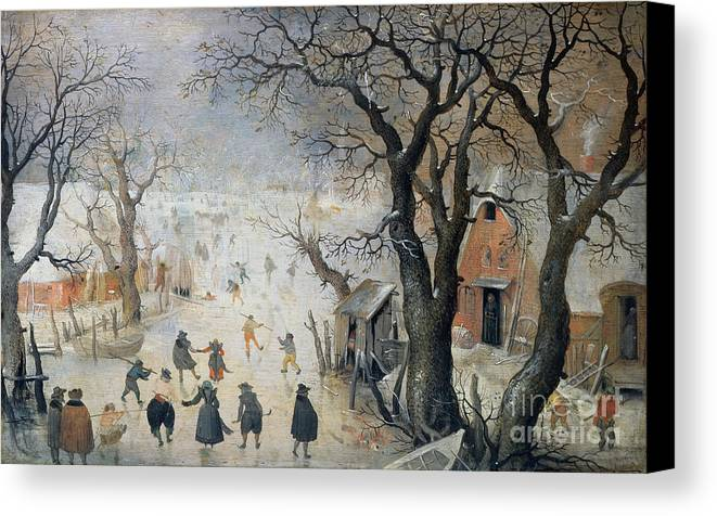 Winter Canvas Print featuring the painting Winter Scene by Hendrik Avercamp
