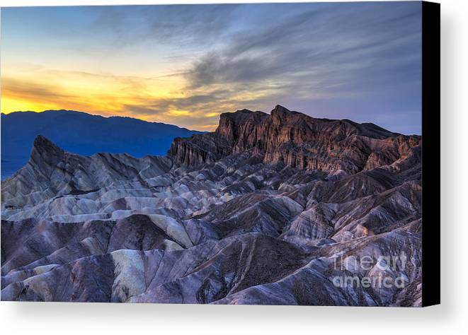 Adventure Canvas Print featuring the photograph Zabriskie Point Sunset by Charles Dobbs