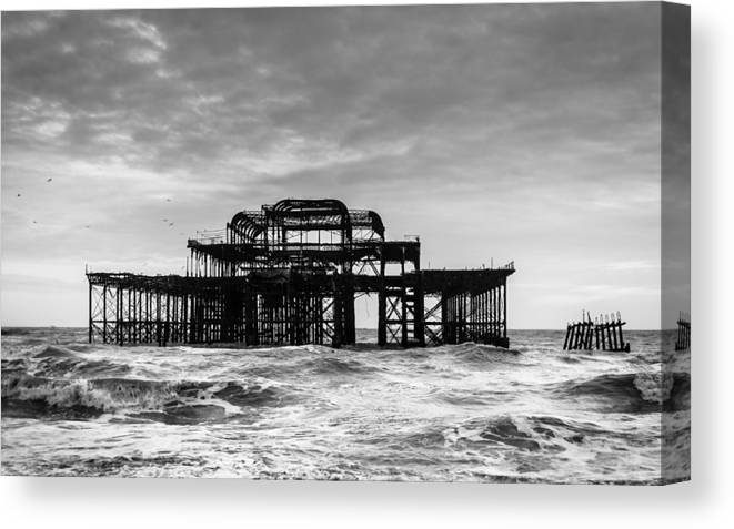 Sea Canvas Print featuring the photograph The West Pier In Brighton by Dutourdumonde Photography