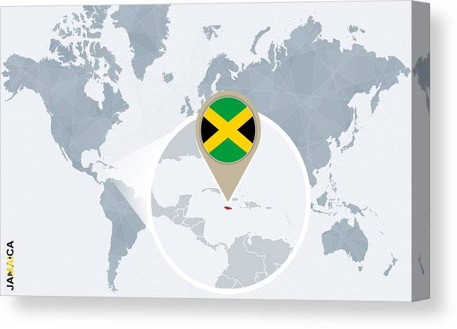 Abstract Blue World Map With Magnified Jamaica. Canvas Print