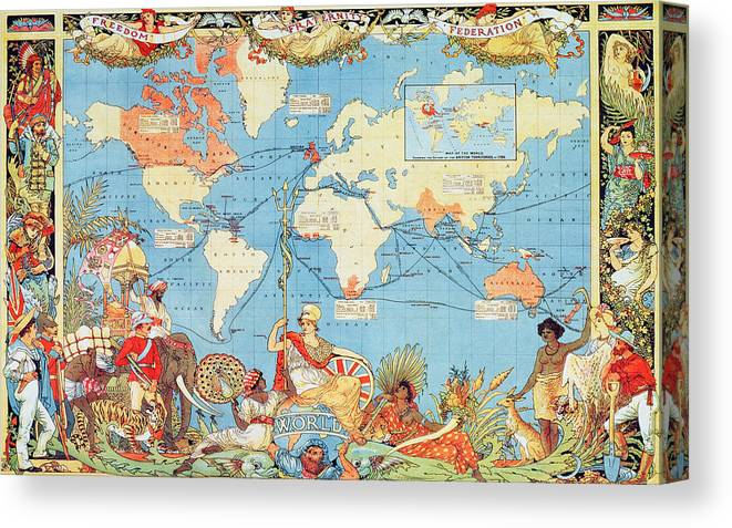 Antique Illustrated Map Of The World Canvas Print