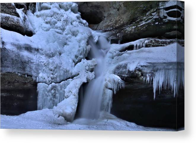 Frozen Waterfall At Cedar Falls In Hocking Hills State Park Canvas Print featuring the photograph Cedar Falls In Winter At Hocking Hills by Dan Sproul