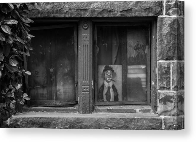Clown Canvas Print featuring the photograph Clown In The Window by Steven Kreiter