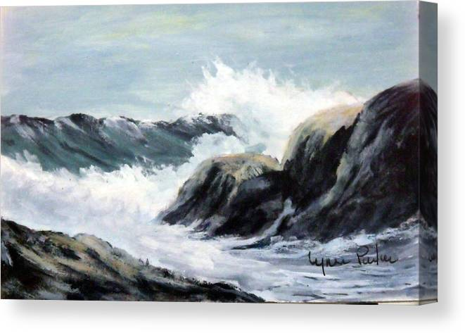 Seascape Canvas Print featuring the painting Crashing Sea by Lynne Parker