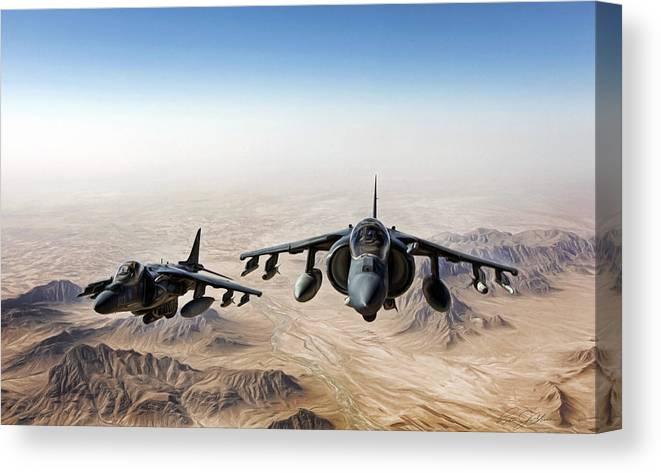 Aviation Canvas Print featuring the digital art High Desert Harriers by Peter Chilelli
