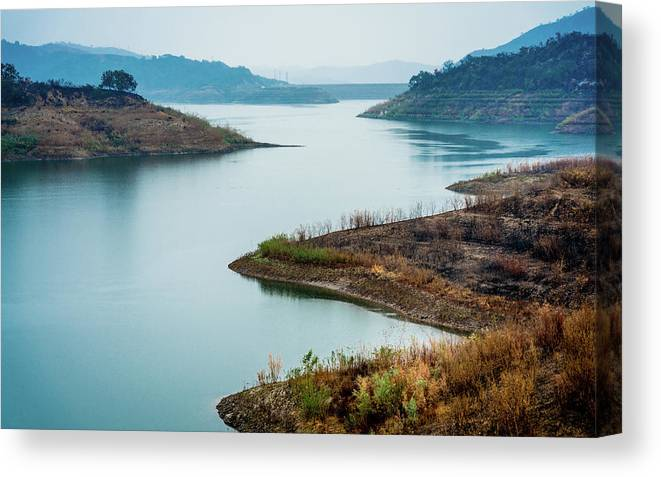 Photography Canvas Print featuring the photograph Lake Casitas In The Fog by Panoramic Images