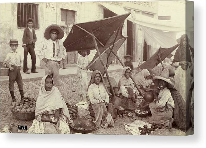 1910 Canvas Print featuring the photograph Mexico Market, C1915 by Granger