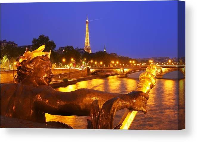 Paris Canvas Print featuring the photograph Paris At Night by Dan Breckwoldt