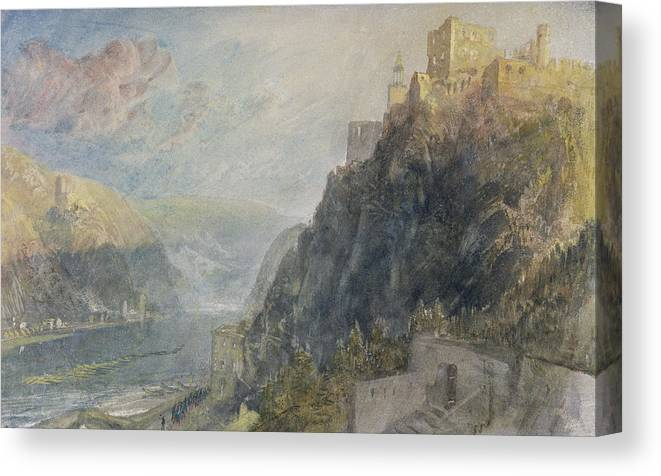 Turner Canvas Print featuring the painting Rheinfels Looking To Katz And Gourhausen by Joseph Mallord William Turner
