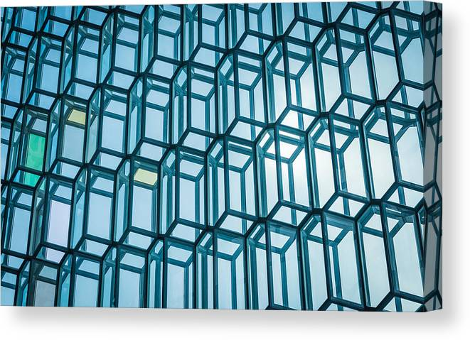 Harpa Canvas Print featuring the photograph Rhythm Of The Sun - Reykjavik Iceland Abstract Photograph by Duane Miller