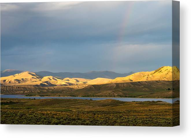 Colorado Canvas Print featuring the photograph Stormy Sky With Rays Of Sunshine by Nadja Rider