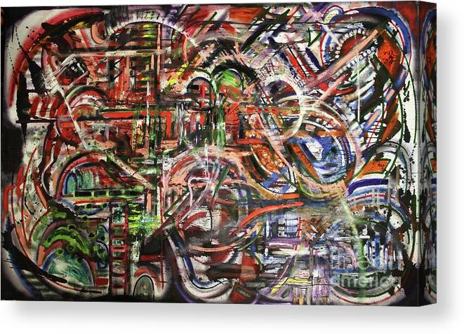 Michael Kulick Canvas Print featuring the painting The Beheading Of Creative Impulse Part 2 by Michael Kulick