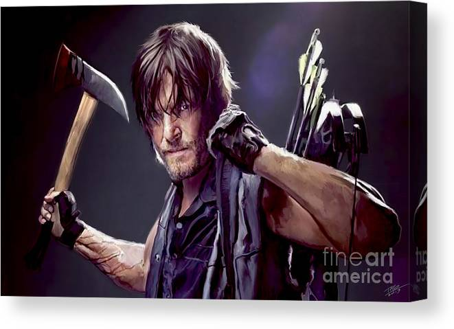 Daryl Canvas Print featuring the painting Walking Dead - Daryl by Paul Tagliamonte