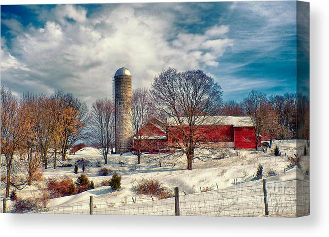 Farm Canvas Print featuring the photograph Winter Farm by Mark Miller