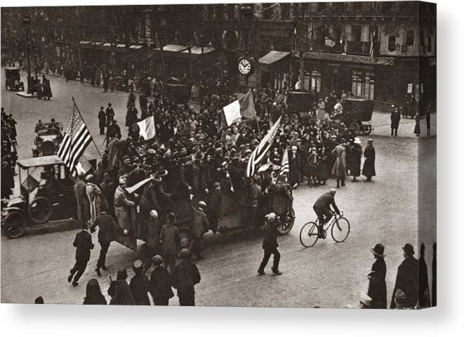 1918 Canvas Print featuring the photograph World War I Celebration by Granger