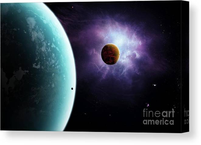 Artwork Canvas Print featuring the digital art Two Planets Born From The Same Star by Brian Christensen