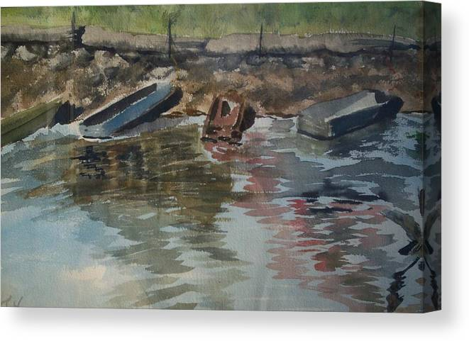 Boats Canvas Print featuring the painting Boats by Karen Thompson