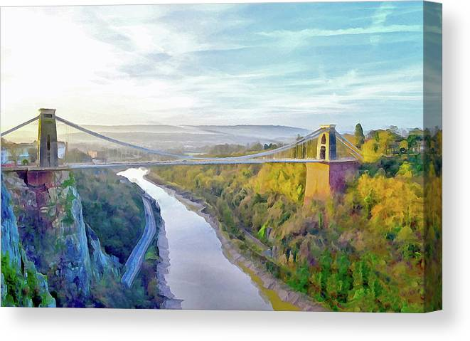Clifton Suspension Bridge Canvas Print featuring the digital art Clifton Suspension Bridge by Bishopston Fine Art
