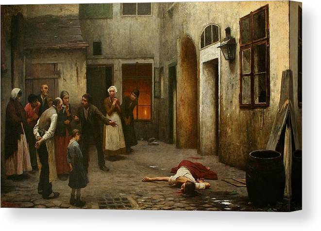 Jakub Schikaneder Canvas Print featuring the painting Murder In The House by MotionAge Designs
