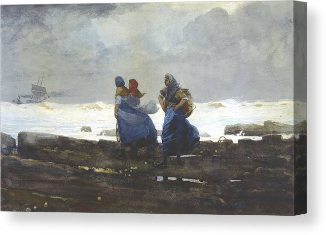 Fishwives By Winslow Homer Canvas Print featuring the painting Fishwives by Winslow Homer
