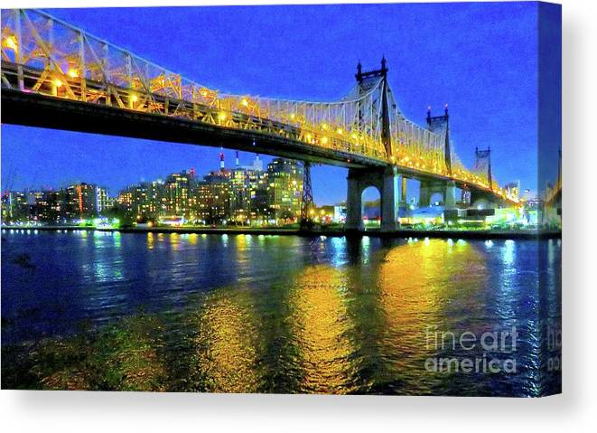 59th St Bridge Canvas Print Featuring The Photograph Street Dusk 13 By Ken