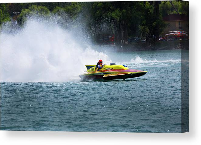 Annual Event Canvas Print featuring the photograph Roostertail From Racing Hydroplanes Boats On The Detroit River For Gold Cup by Bruce Beck